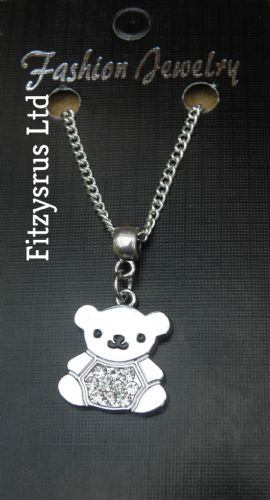 "18"" 24"" Inch Necklace & Rhinestone Teddy Bear Pendant Charm Christening Gift New"